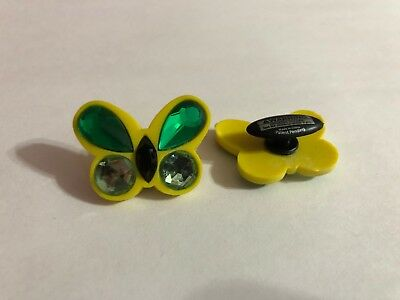 Large Yellow & Green Butterfly Shoe-Doodle Butterfly Shoe Charm for Crocs PSC563