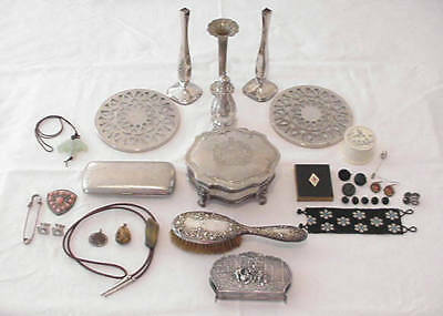 Vintage Lot Sterling Silverplate Silver Tone Jewelry & Box Overlay Trivets More