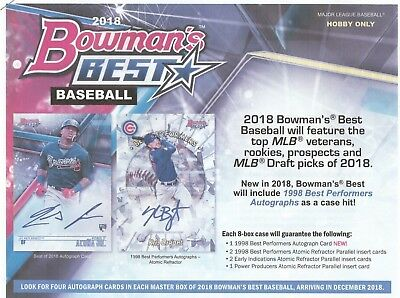 2018 Bowman's Best Hobby Baseball  Box Factory Sealed Box  4 Autos