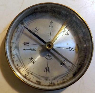 """Small 2"""" Diameter Brass Pocket Compass w Beveled Glass Cover Made in France"""