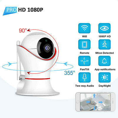 Wireless Home Security Smart Camera Video 1080P HD Night Vision Baby Monitor PT