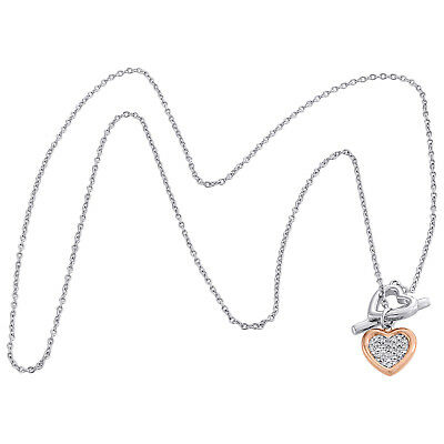 """.925 Sterling Silver Rose Tone Diamond Double Heart Toggle Necklace 18"""" 0.10 CT."""