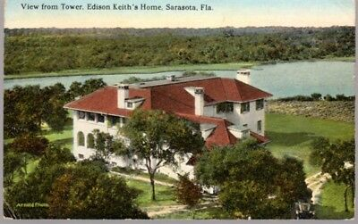 1920s tinted postcard of Edison (Edson) Keith's home, Sarasota, FL, posted