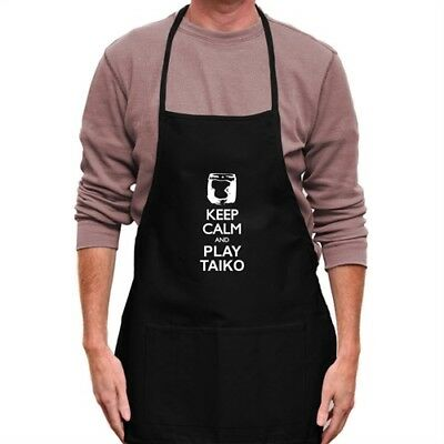 Keep calm and play Taiko silhouette Apron