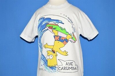 vintage 80s BART SIMPSON AYE CARUMBA SURFING THE SIMPSONS t-shirt YOUTH SMALL YS