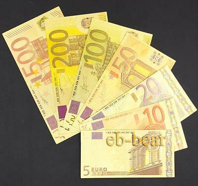 1 Set 7 Pcs Euro Crafts Gold Color Banknotes Unusual Beautifully Collections New