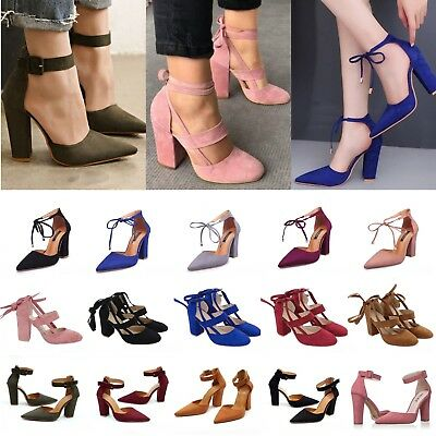 Women Block High Heel Ankle Strappy Sandals Pointed Toe Chunky Party Pumps Shoes
