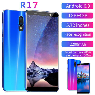 """R17 Android 6.0 5.72"""" Unlocked Smartphone Touch 1+4GB 3G GSM Quad SIM Cell Phone"""
