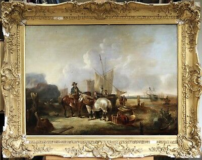 William Shayer Snr (1787-1879) Huge English Oil Fisherfolk On Coast - To Restore