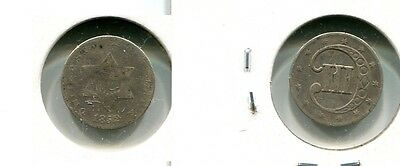 1852 Three Cent Silver Type Coin  Fine Damaged 378H