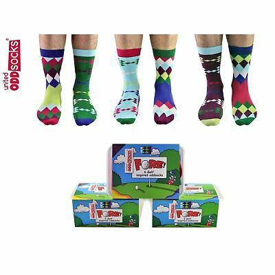 United Oddsocks Set of 6 Mis-matched Golf Themed Men Socks UK Size 6-11 Gift set