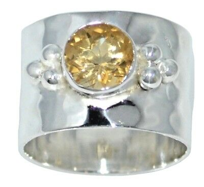 Sterling 925 Silver Wide Band Citrine Ring All Size upto Z,12½ Birthstone Chakra