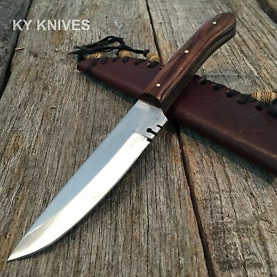 Full Tang Western Style Fixed Blade Trade Patch Knife Leather Sheath 203294