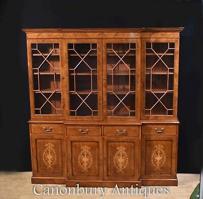 Regency Breakfront Bookcase Burr Walnut Sheraton Book Case
