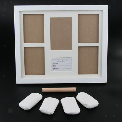 Creative Photo Frame Kit with Ink Pad & Stick for Newborn Baby - White