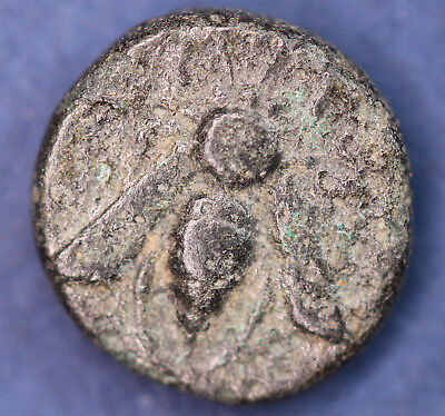 Ancient Greek AE bronze coin. 9mm, bee *[14591]