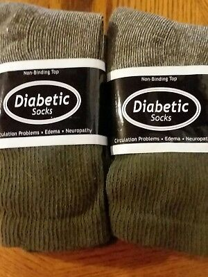 Diabetic Hunter Forest Green Crew Socks 6 Pair Men's Size 10-13 Made in USA