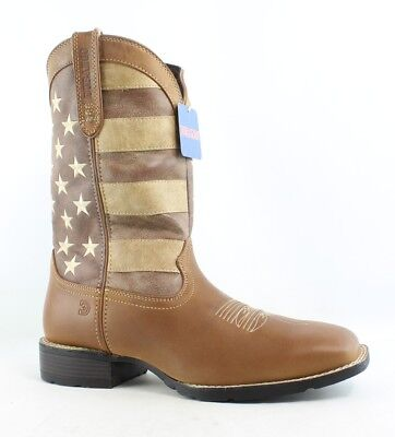 """New Durango Mens 12"""" Western Brown and Union Flag Leather Western Boots"""