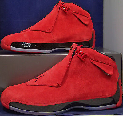 cheap for discount d86ca 6e7af Nike Air Jordan 18 XVIII Retro Toro Gym Red Black Suede SZ 10.5 ( AA2494-