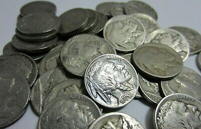 (20) Buffalo Nickel Lot - Mixed Date/Mint - Full Dates - 20 Coins - Half Roll