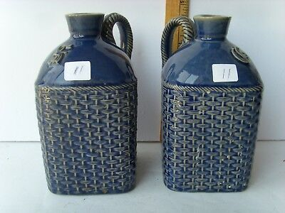 """Antique Pair of Pottery Whiskey Jugs both 7"""" ~1880-1920 45/11"""