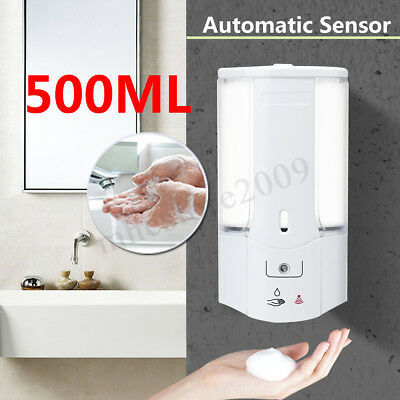 500ml Automatic Wall Mounted Infrared Sensor Soap Dispenser Shower Bathroom Home