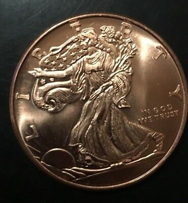 (1) Walking Liberty 1 oz .999 Copper Bullion Rounds Coins