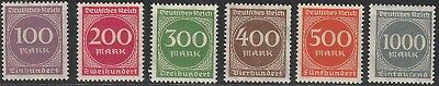 Stamp Germany Reich Mi 268-73 Sc 229-34 1923 Set Inflation Number Circle MH