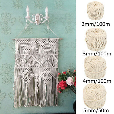 2/3/4/5mm Macrame Rope 100% Natural Beige Cotton Twisted Cord Artisan DIY 2019