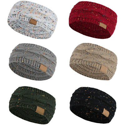 Women's Winter Knitted Ear Warmer Headband Ladies Crochet Wool Hat Hairband UK