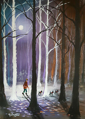 .  Mal.burton Original Art Oil Painting  Out With The Dogs ..moonlight 16X12