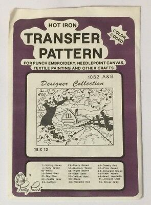 Pretty Punch Hot Iron Transfer Pattern Punch Embroidery 1032 A&B Farmhouse Scene