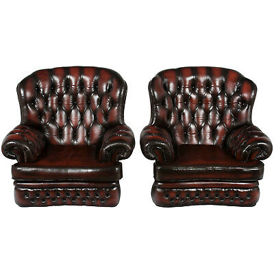 Vintage Antique Style Tufted Red Leather Pair of Club Arm Chairs Classic English