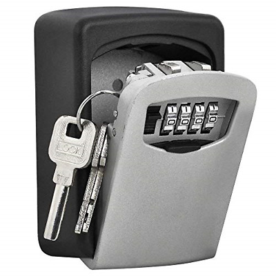 Outdoor Security Key Storage Lock Box Curved Wall Mount Holder Password Keys