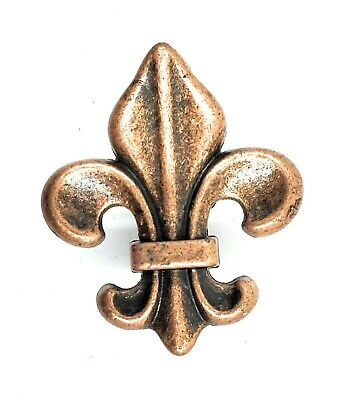 Fleur de Lis Drawer Cabinet Knobs Pull Copper Finish French Decor