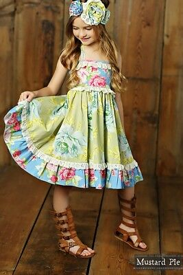 NWT Girl Mustard Pie Apple Blossom Ashton Dress Blue Floral Multi Girls sz 6