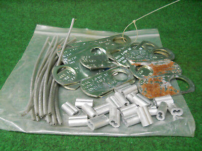 American Stamped Steel ID Tags W/ Wire Rope & Sleeve Lot of 60 Pcs.