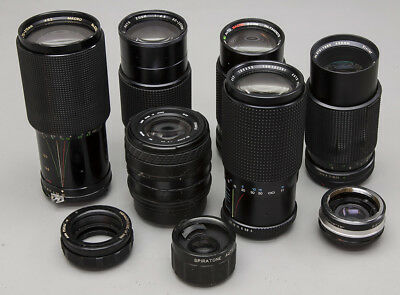 Lot of Nine (9) SLR Film Camera Lenses for Parts or Repair