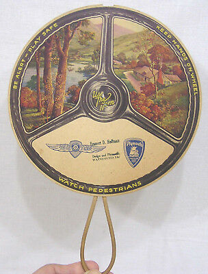 Vtg Advertising Hand Fan Auto Steering Wheel Graphics Dodge Plymouth Dealer 1930