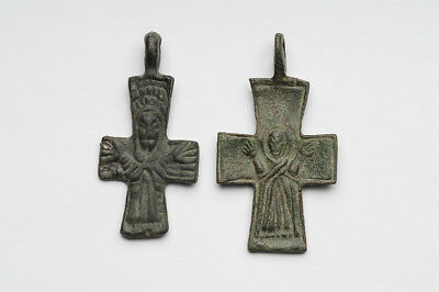 2 Ancient Bronze Crosses Christ Image Byzantine 900-1300 Ad