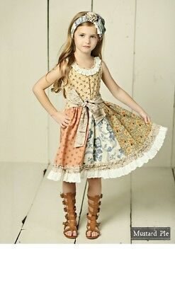 NWT Girl Mustard Pie Amber Fields Scrappy Cordella Dress Girls sz 7