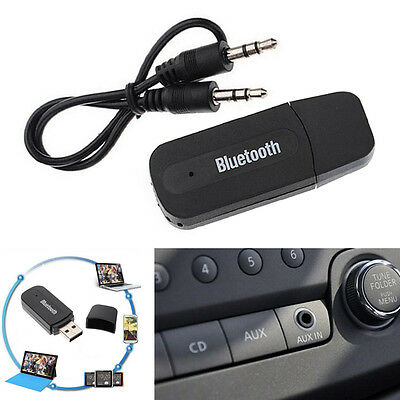 1XWireless Bluetooth 35mm AUX Audio Stereo Music Home Car Receiver Adapt