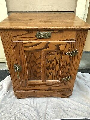 Vintage White Clad IceBox Cabinet End Table Oak Brass Hardware Nightstand-GREAT