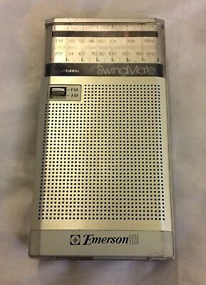 Emerson SWINGMATE AM-FM Transistor RADIO Model P3766A Gray Silver WORKS
