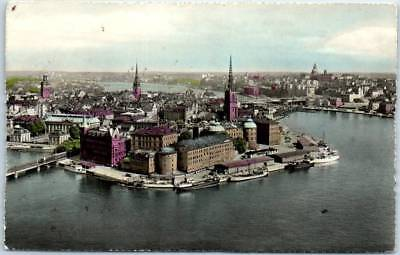 Vintage STOCKHOLM Sweden RPPC Postcard Aerial City View Tinted Photo 1959 Cancel