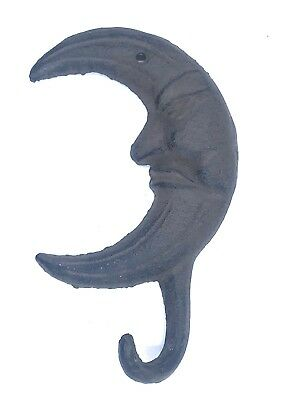 Cast Iron Crescent Moon Coat Hook Rack Towel Key Holder Rustic Decor