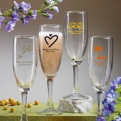 12 Champagne Flutes Wedding Bridal Baby Shower Birthday Personalized Party Favor