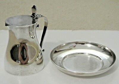 Vintage Tiffany & Co. Makers Silver Soldered Milk Water Creamer Pitcher & Saucer