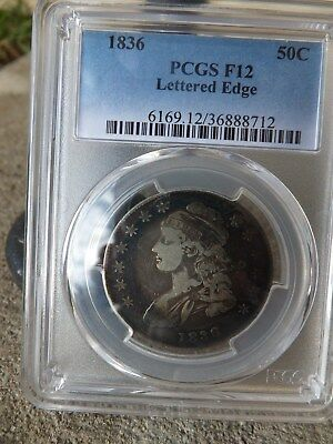 1836 50c lettered edge bust half dollar ! PCGS MS F 12. Great Type Set Coin !