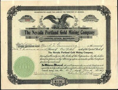 Nevada Portland Gold Mining Co., 1907 Mines In Goldfield, Nevada, Uncancelled